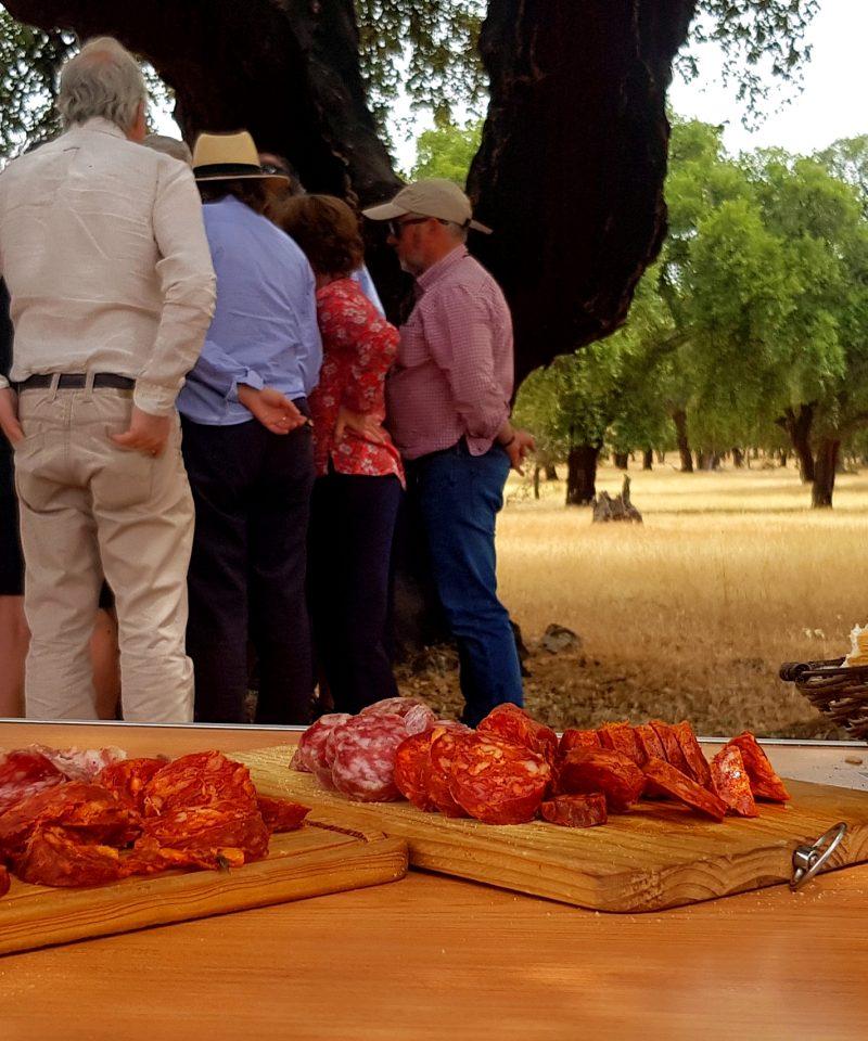 Gente en la dehesa con tabla de embutidos y pan